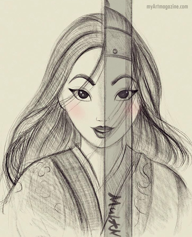 drawing mulan cartoon by diana1992d