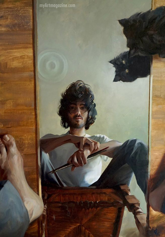 self portrait painting man mirror by alexandre clair