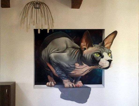 cat 3d pencil drawing