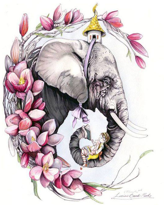 elephant water color painting by christina