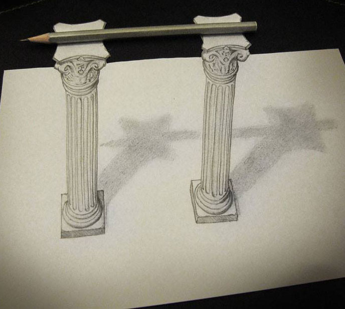 pillar 3d pencil drawings