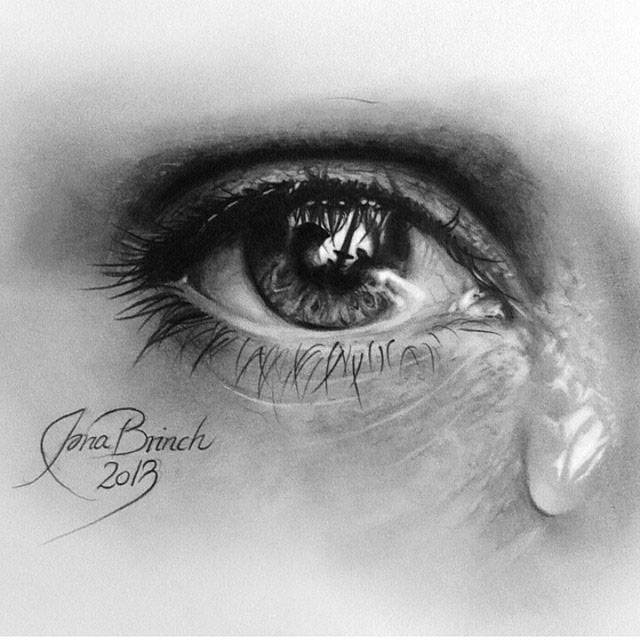 realistic eye pencil drawing by iona