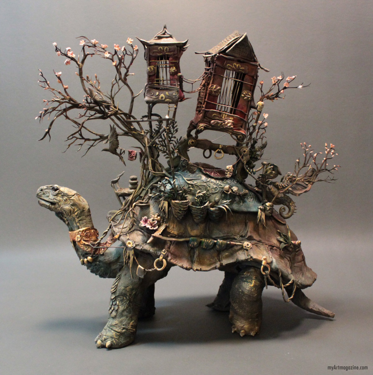sculpture surreal tortoise by ellen june