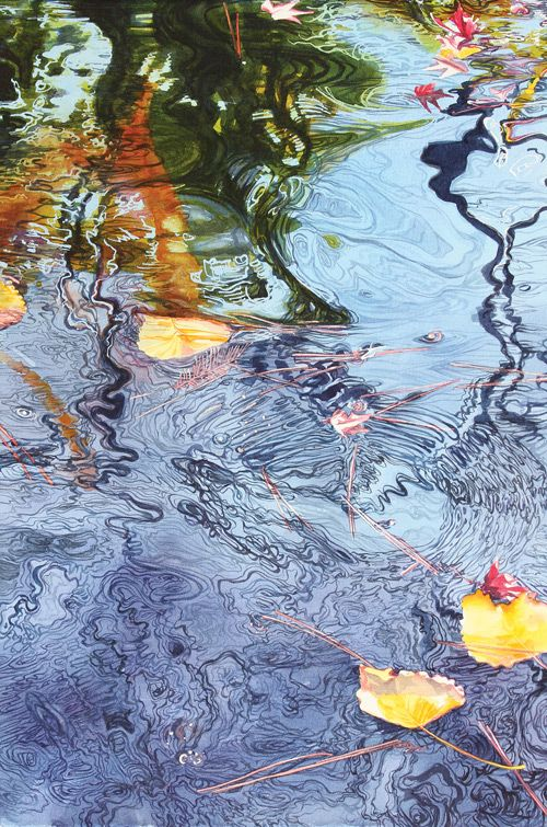 watercolor painting pond water by warren koi