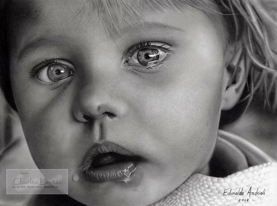 baby crying pencil drawing