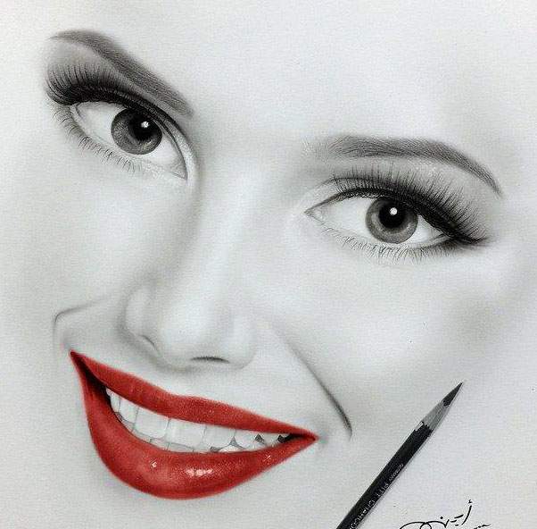 beautiful girl pencil drawing