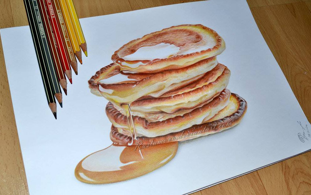 cake with honey pencil drawing