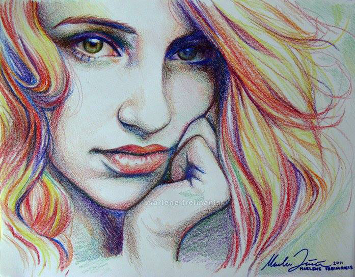 colorful girl pencil drawing