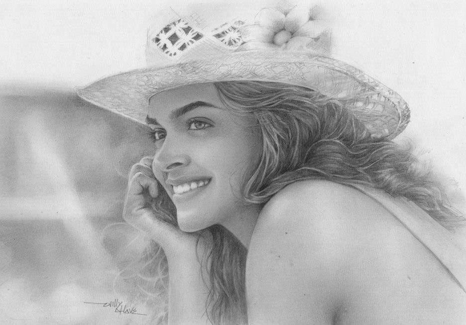 deepika pencil drawing