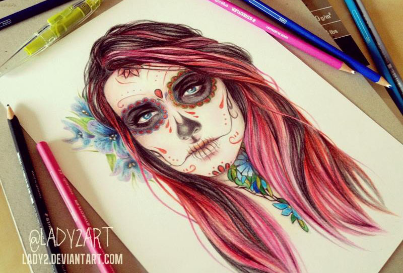 devil girl color pencil drawing by katarzyna
