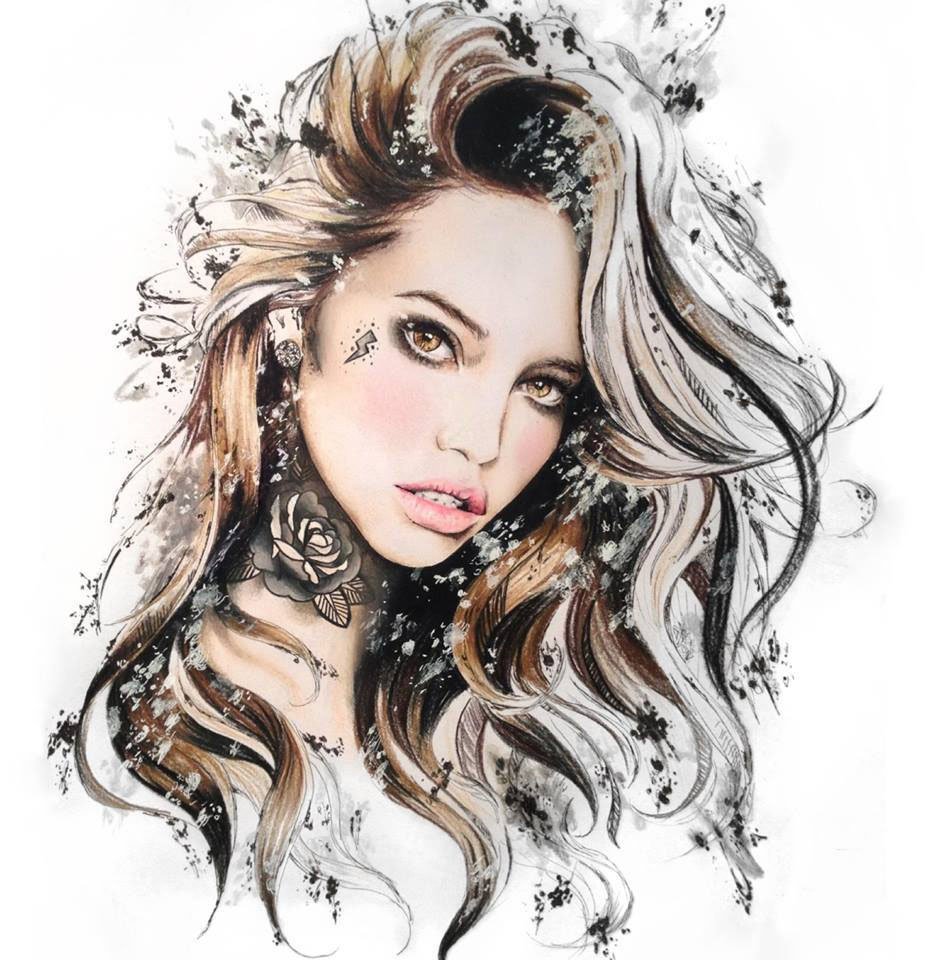 girl color pencil drawing by elle