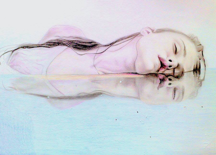 girl in water color pencil drawing