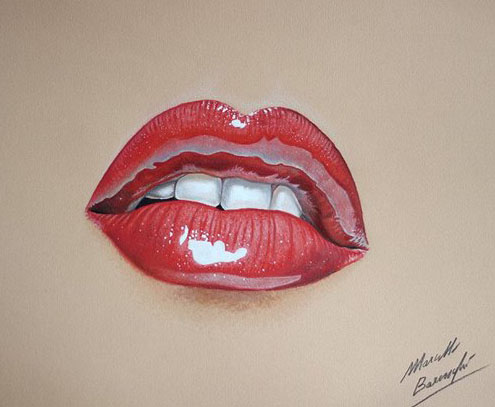 glossy lip color pencil drawing