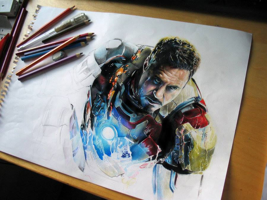 iron man color pencil drawing