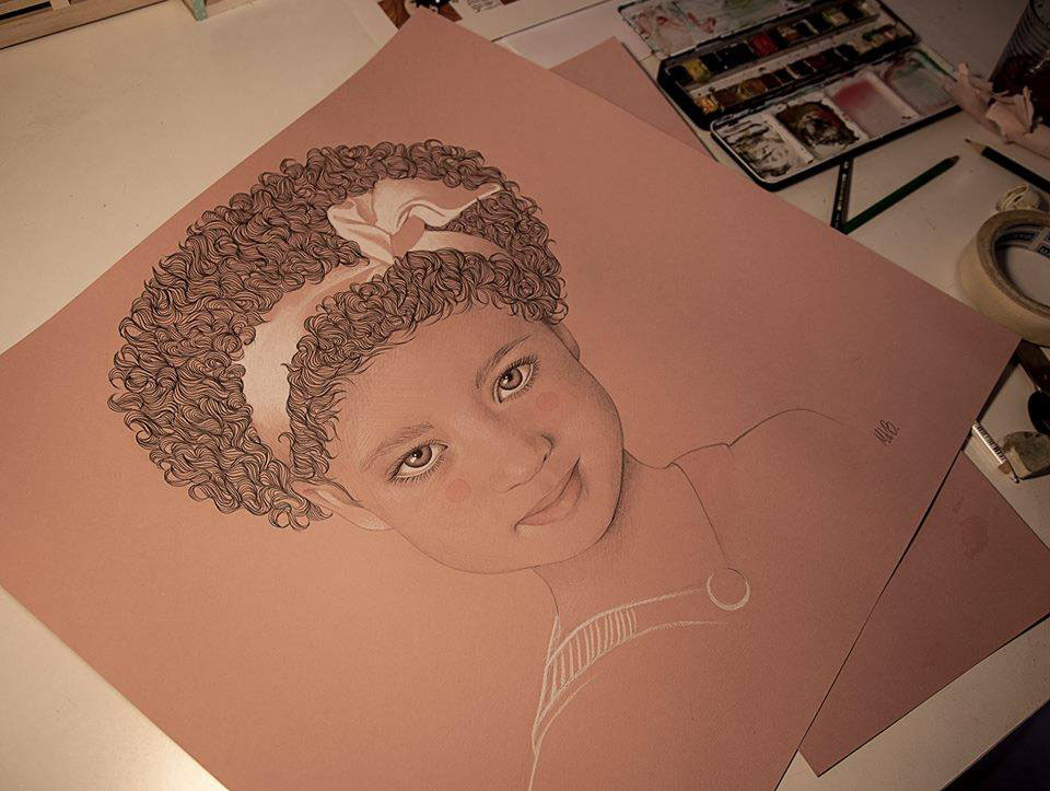 little girl color pencil drawing