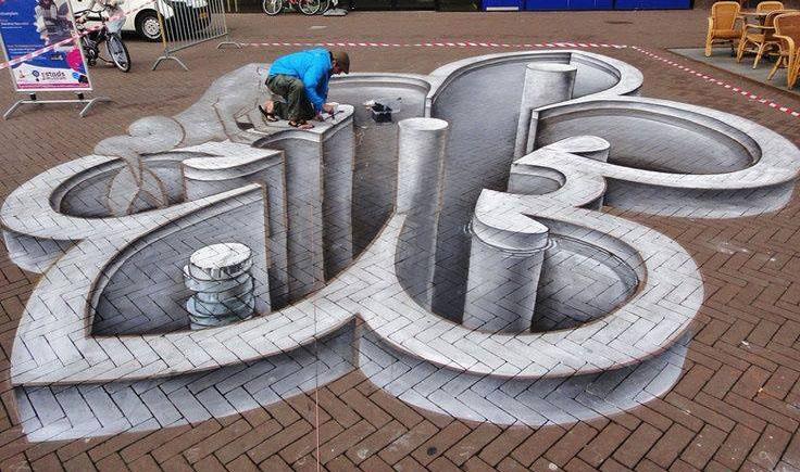man 3d street art