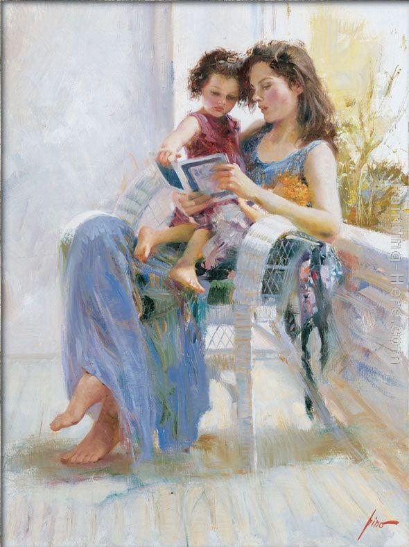 mother and daughter water color painting by pino