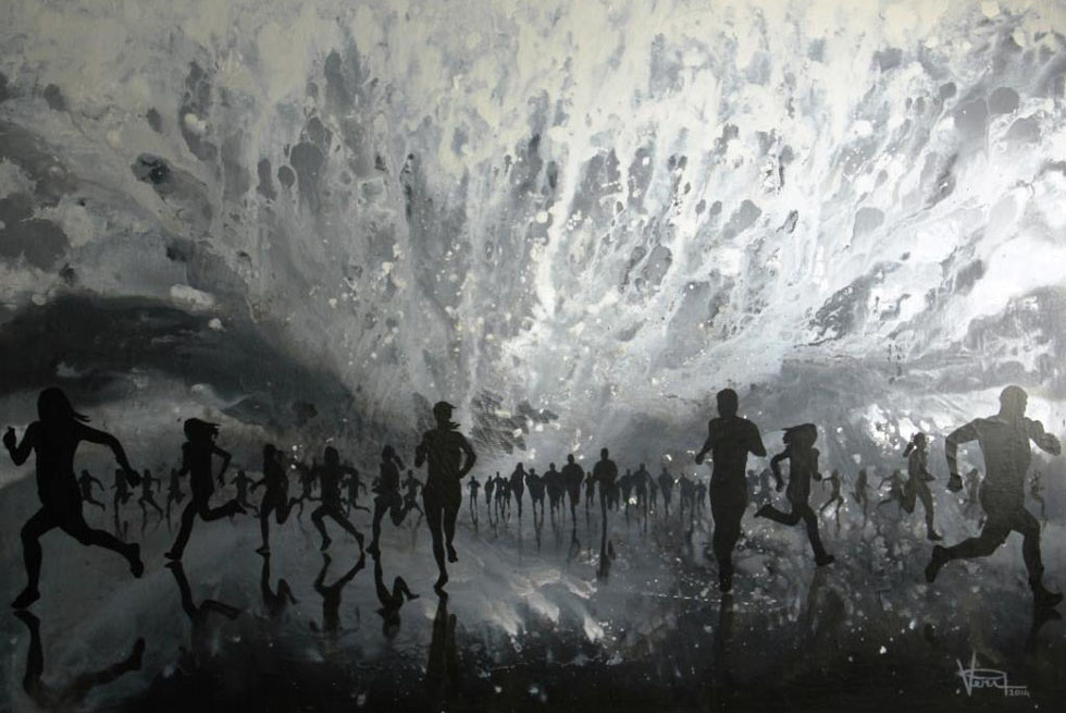 people running painting