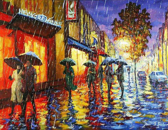 rain water color painting