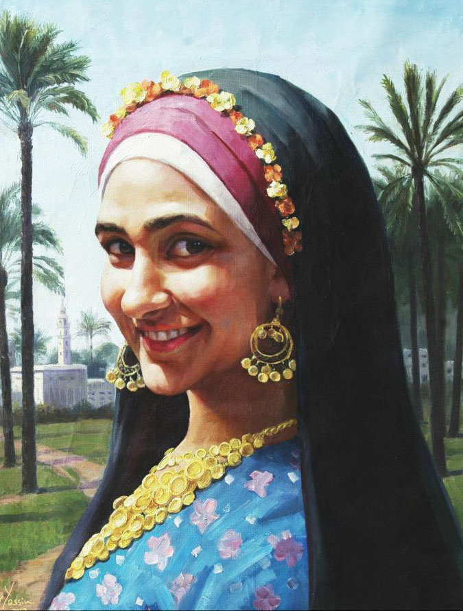 woman painting by waleed