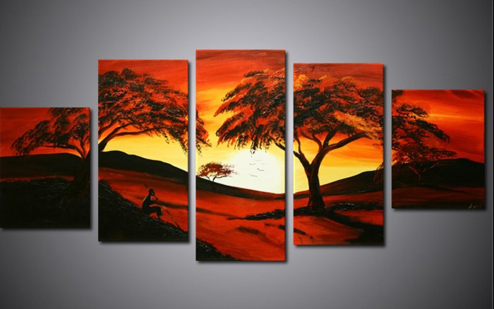 multi panel painting tree