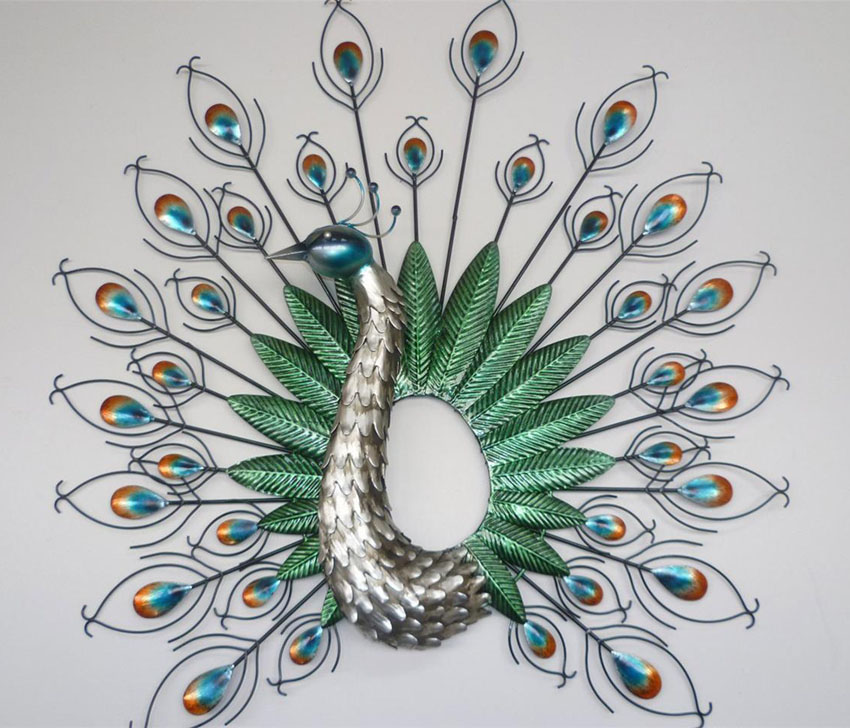 1 wall sculpture peacock