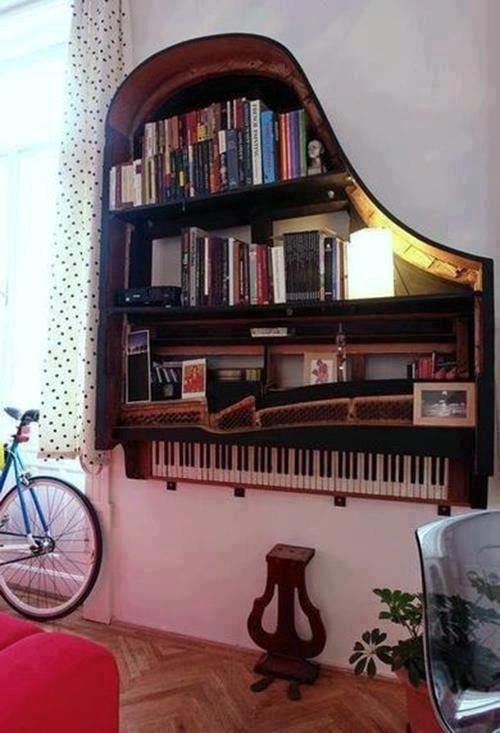 diy inspiration ideas piano book shelf
