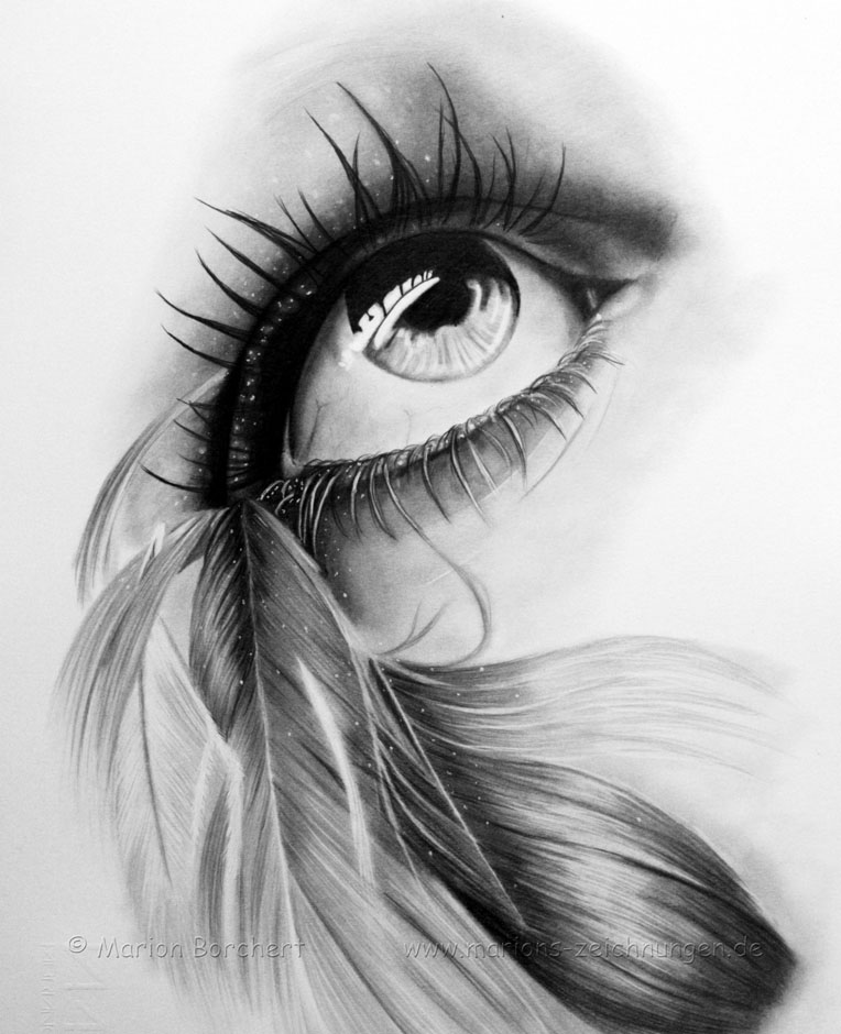 eyes drawings realistic feathered eye