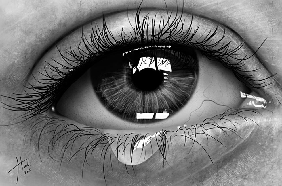 eyes drawings realistic tear eye art by hadi
