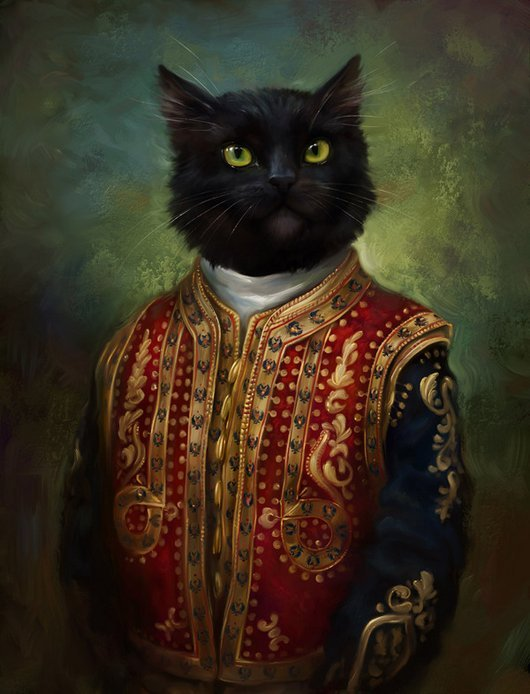 funny painting majectic cat