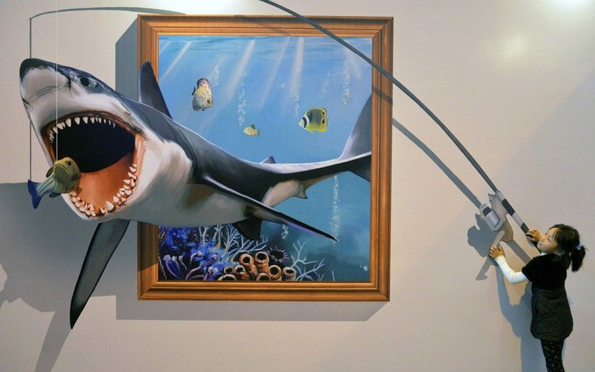 funny paintings 3d dolphin