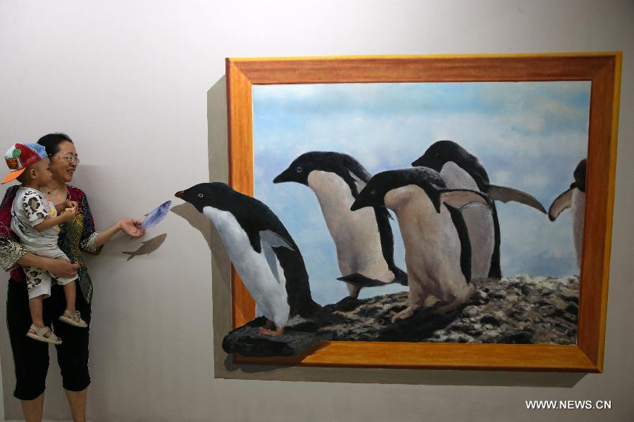 funny paintings 3d penguin