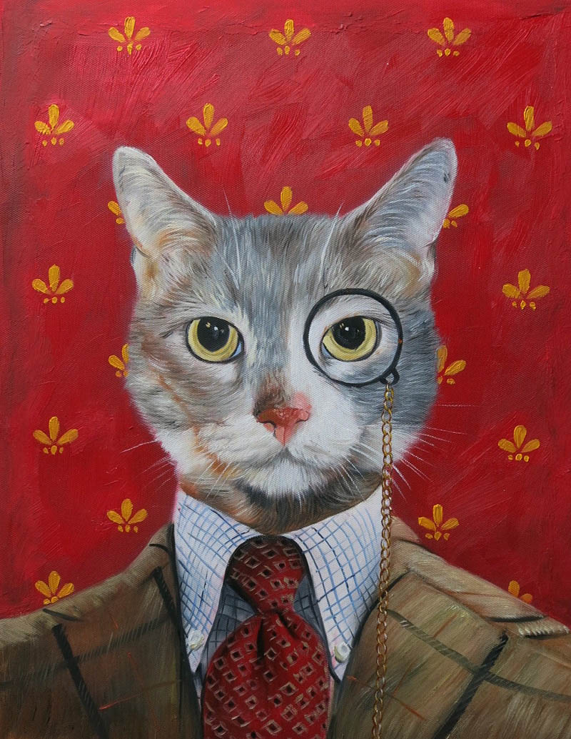 funny paintings cat