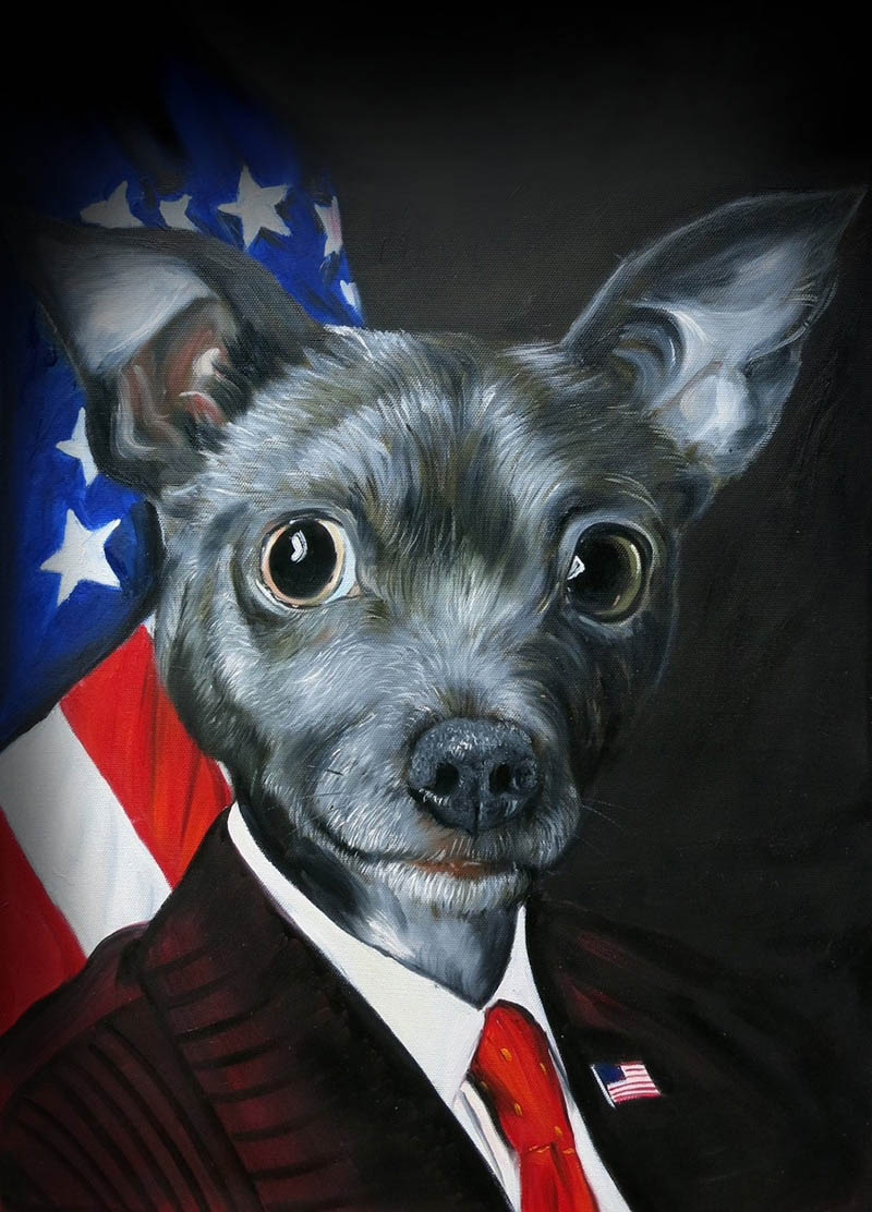 funny paintings dog