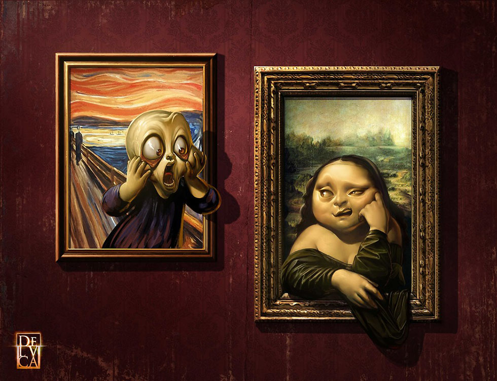 funny paintings monalisa