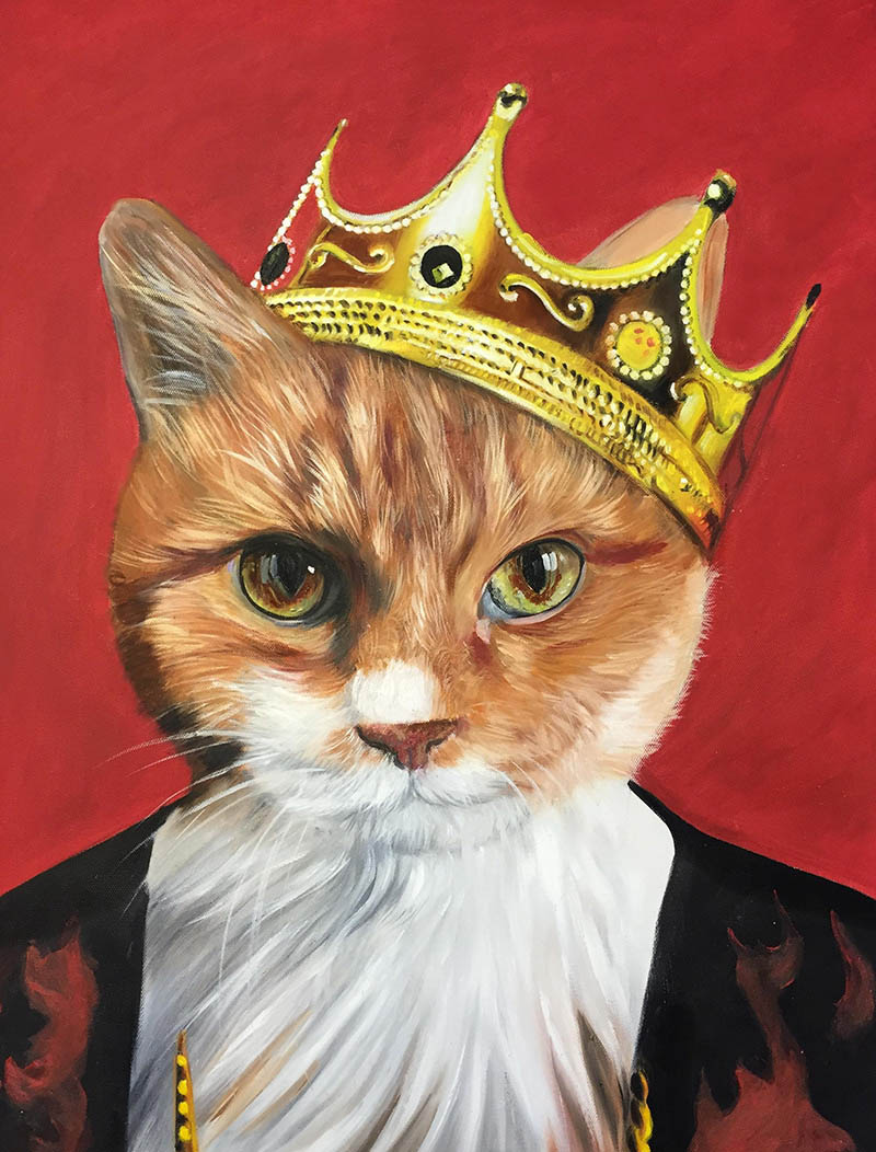 funny paintings prince cat