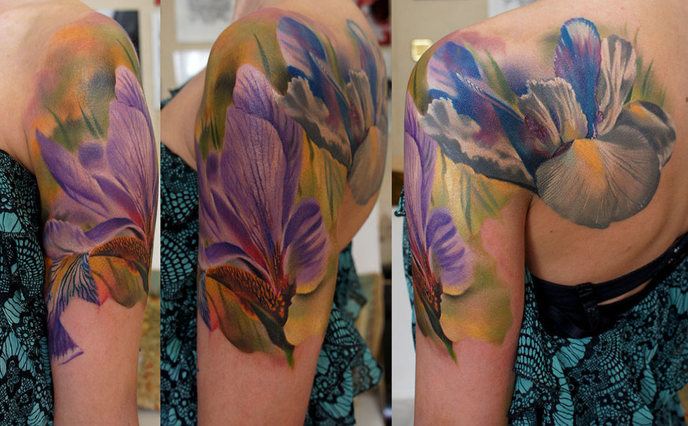 tattoos for men iris flower artwork by grimmy