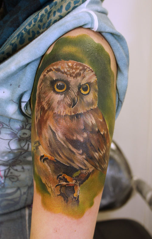 tattoos for men owl artwork by grimmy