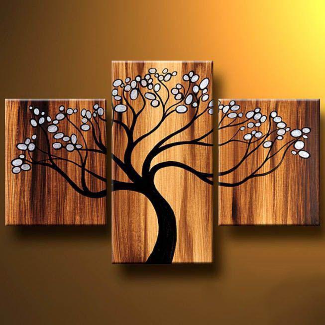 multi panel painting tree buds