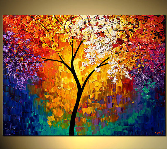 tree painting modern colorful abstract tree art
