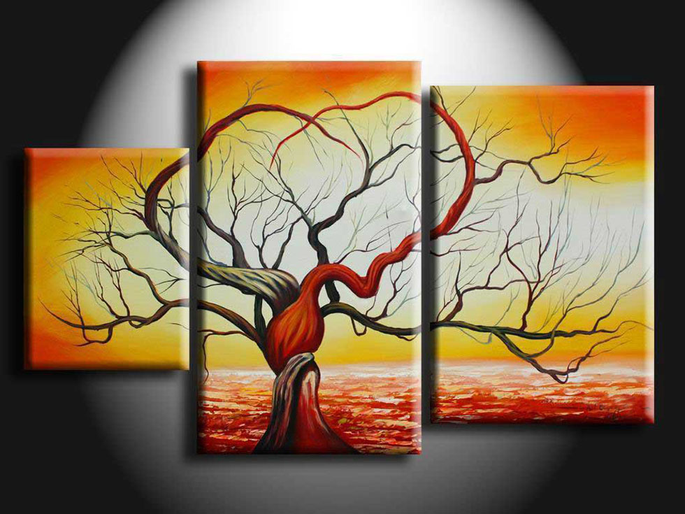 multi panel painting modern tree