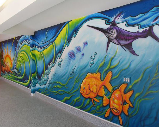 wall mural painting fish by drew brophy
