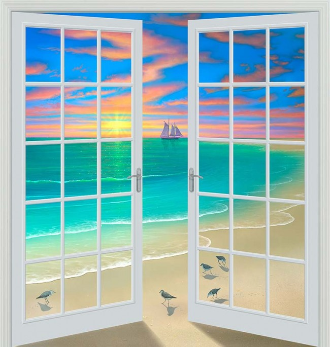 wall mural painting beach view