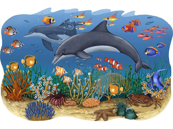 wall mural painting fishes