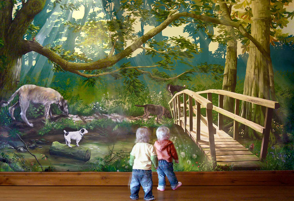 wall mural painting forest animal