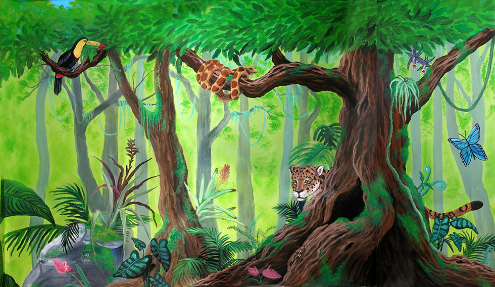 wall mural painting forest