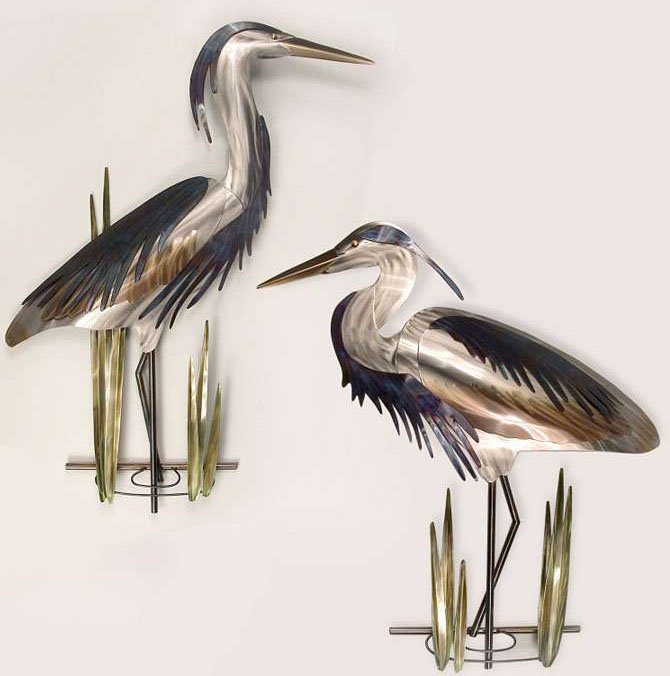 wall sculpture crane bird