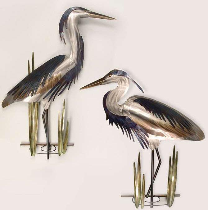 wall sculpture crane bird