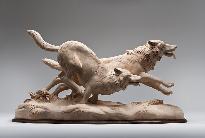 wood carving animal wolves