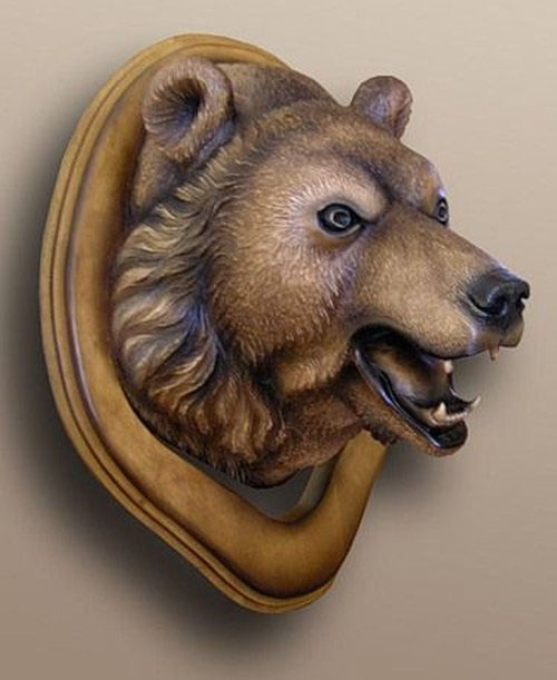 wood carving art animal bear